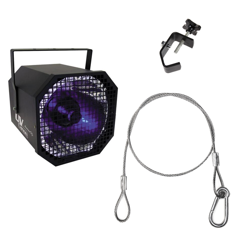 American DJ UV Canon Ultraviolet Blacklight Package with Truss Clamp & Harness