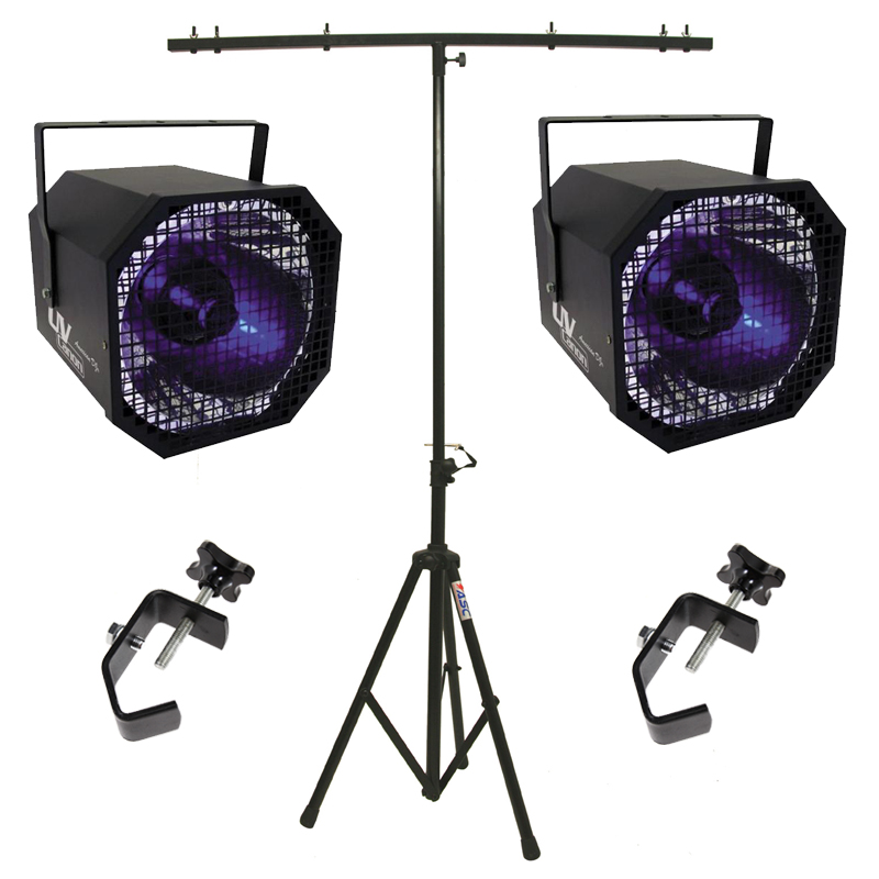 American DJ (2) UV Canon Ultraviolet Blacklight Package w/ Tripod Stand & Clamps