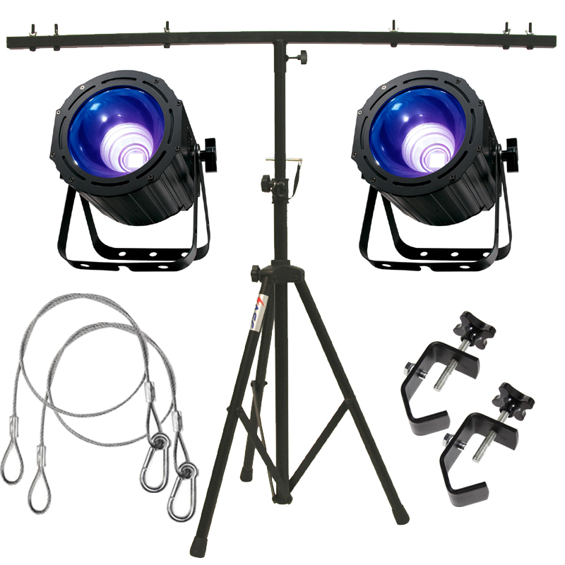 American DJ (2) UV COB Cannon Ultraviolet Wash Package w/ Tripod Stand & Clamps