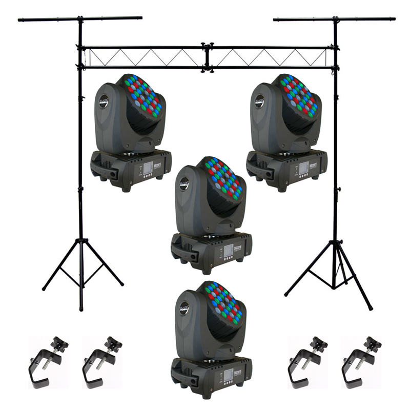 Blizzard (4) Blade RGBW Moving Head Pack w/ ASC-L001 Stand & (4) ASC-HOOK Clamp