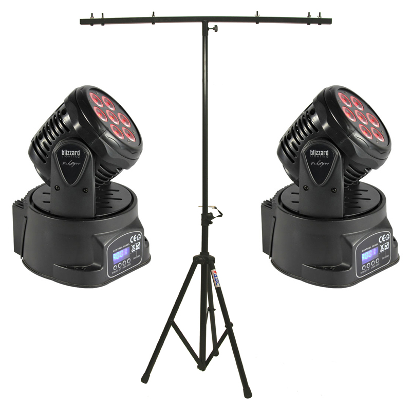 Blizzard (2) Flurry 5 Moving Head Fixture Pack with Portable T-Bar Light Stand