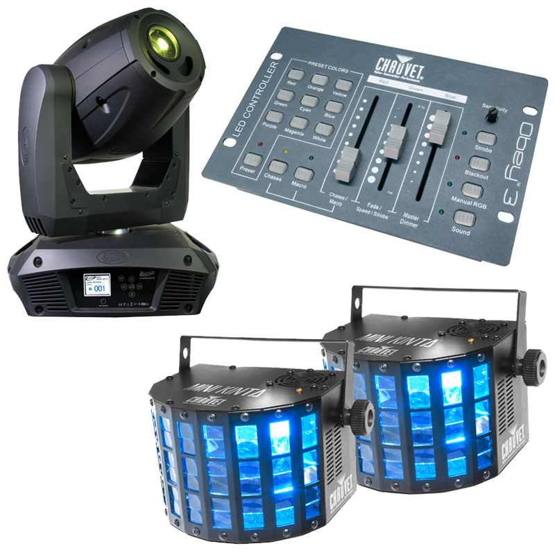Elation Platinum Spot 5R Moving Head w/ Obey 3 DMX Controller & 2 LED Beam Light