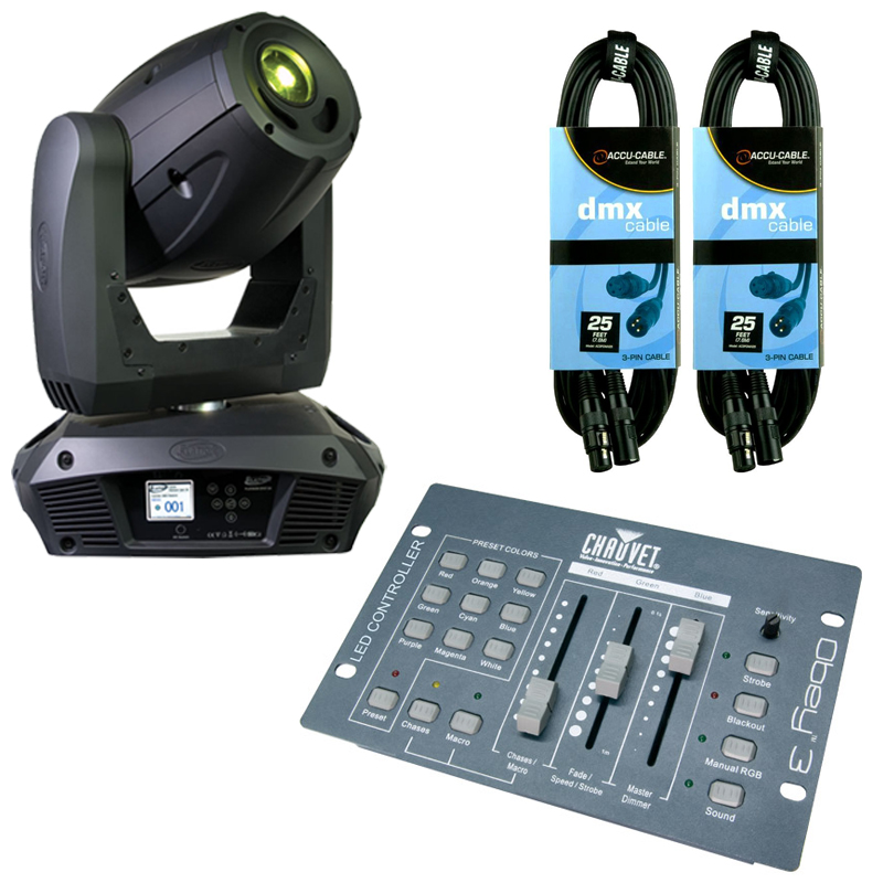 Elation Platinum Spot 5R Moving Head w/ Obey 3 Controller & (2) 25ft DMX Cables