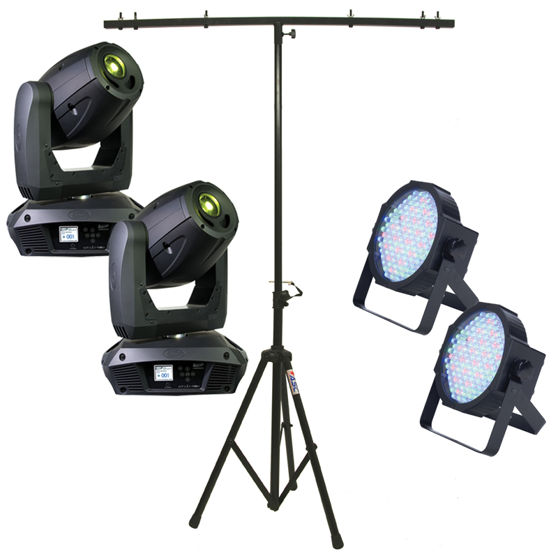 Elation (2) Platinum Spot 5R Moving Head Light w/ Tripod Stand & 2 RGB LED Pars