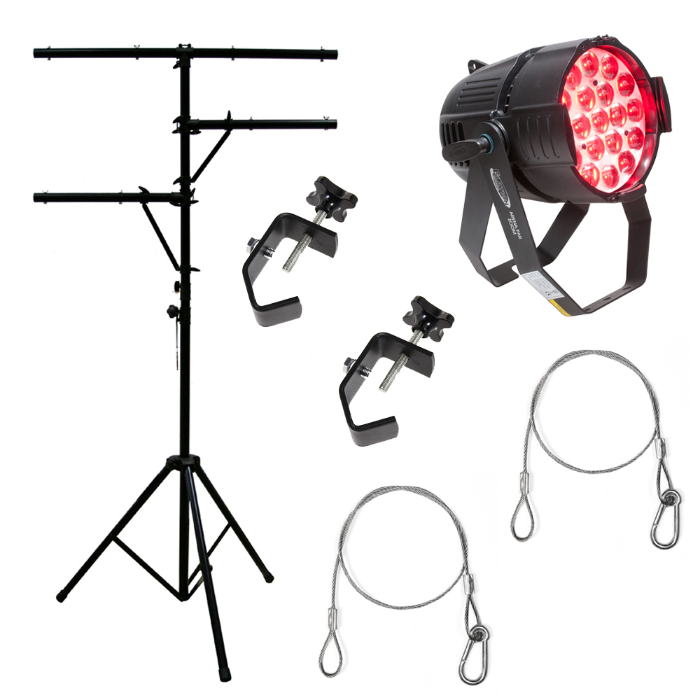 Elation Arena Par Zoom Quad RGBW LED Light w/ 2 Clamps, 2 Safety Cables & Stand
