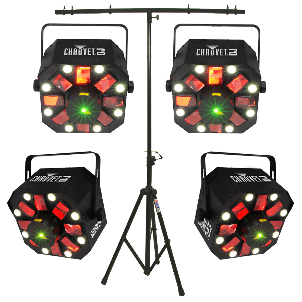 Chauvet (4) Swarm 5 FX LED Rotating Derby Fixture Package with T-Bar Light Stand