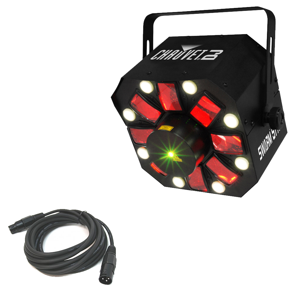 Chauvet Swarm 5 FX LED Rotating Derby Fixture Package w/ 15' 3-Pin DMX Cable