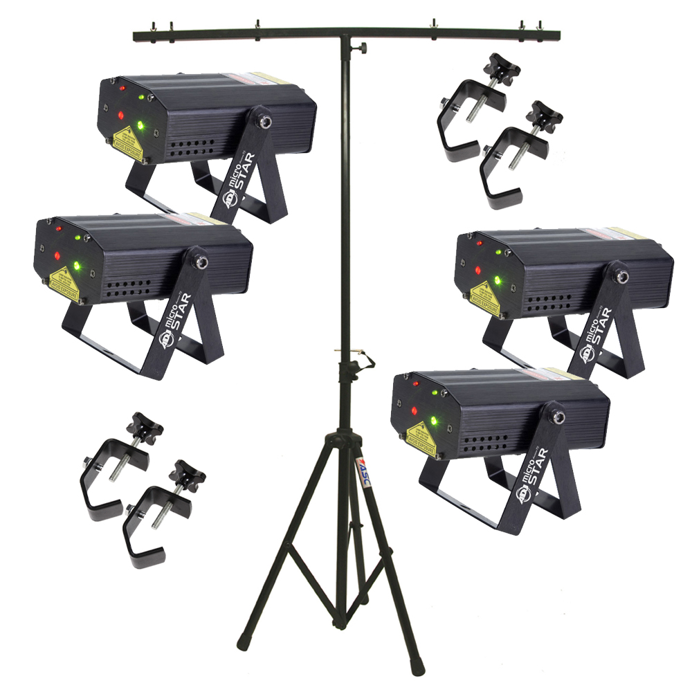 American DJ (4) Micro Star Red/Green Laser Beam Fixtures w/ Stand & (4) Clamps