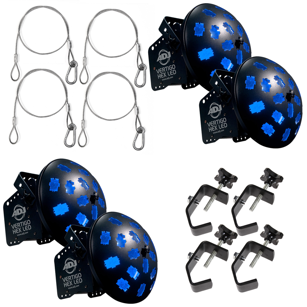 American DJ (4) Vertigo Hex LED Moonflower Effect Fixtures w/ Clamps & Harnesses