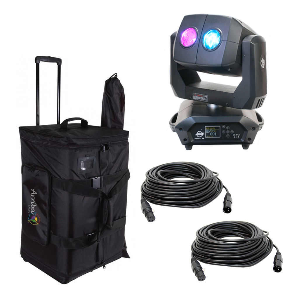 American DJ 3 SIXTY 2R Dual Moving Head Fixture w/ Protective Bag & 2 DMX Cable