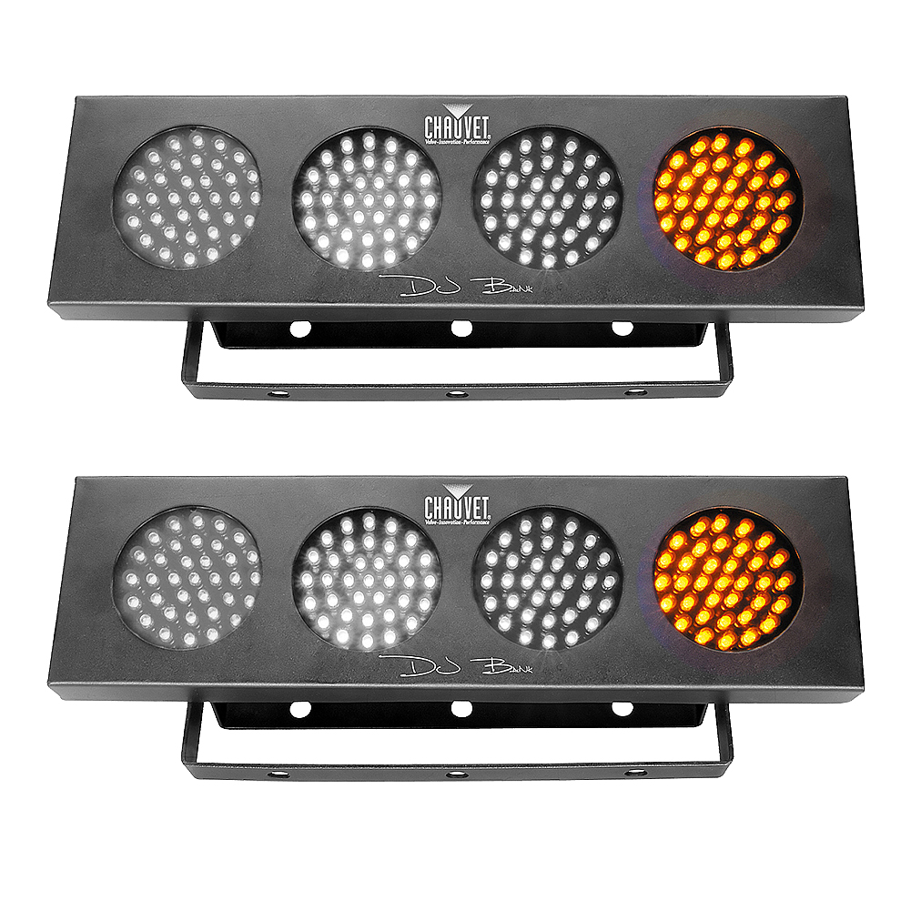 (2) Two Chauvet DJ BANK Sound Activated 140 LED RGBY Light Bank