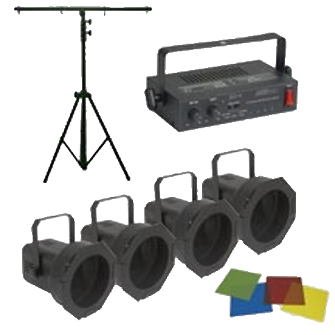 Eliminator Lighting PAR-38 PAK DJ Lights Package System 4 Par Cans Light Stand 1 Chase Controller 4 Color Gel Pack
