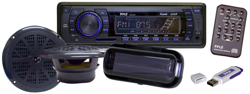 Pyle Marine Audio PLMRKIT102 In-Dash Marine AM/FM PLL Tuning Radio with USB/SD/MMC Reader 6.5' Speakers Stereo Cover & USB Drive