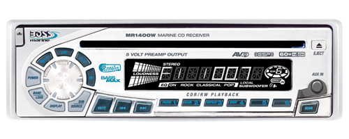 Boss Marine CD/AM/FM Receiver, Front Aux-In, Full Detachable Front Panel, 60w x 4 (White)