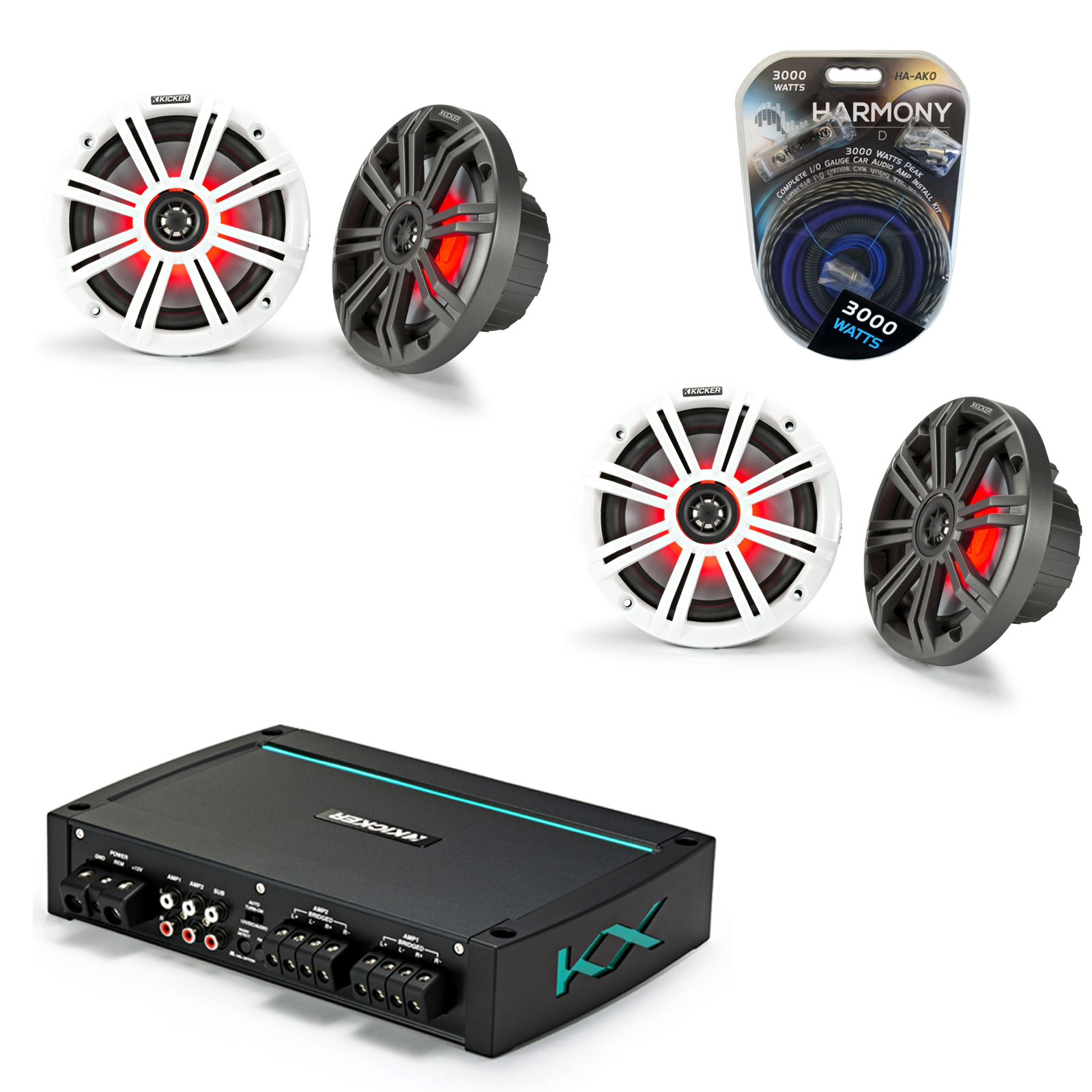 "Kicker Marine Audio 4-Ch Speaker Boat Amp w/ 6.5"" 7 Color LED Light Coaxial Speakers (2) & 3000W Amp Install Kit"