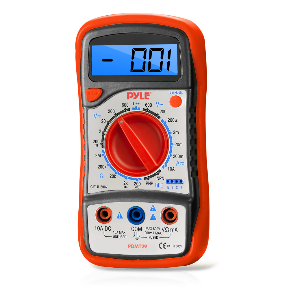 Pyle Meters PDMT29 Digital LCD Multimeter Tester with Rubber Case and Stand
