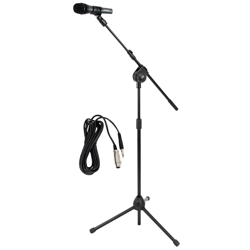 Pyle PMKSM20 Microphone and Tripod Stand With Extending Boom & Mic Cable Package