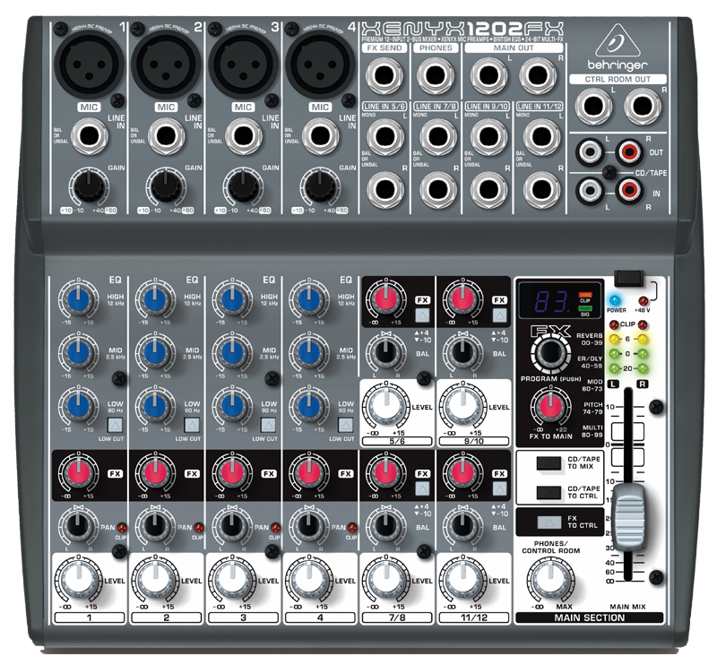 behringer xenyx 1202fx premium 12 input 2 bus mixer with xenyx mic preamps british eqs and. Black Bedroom Furniture Sets. Home Design Ideas