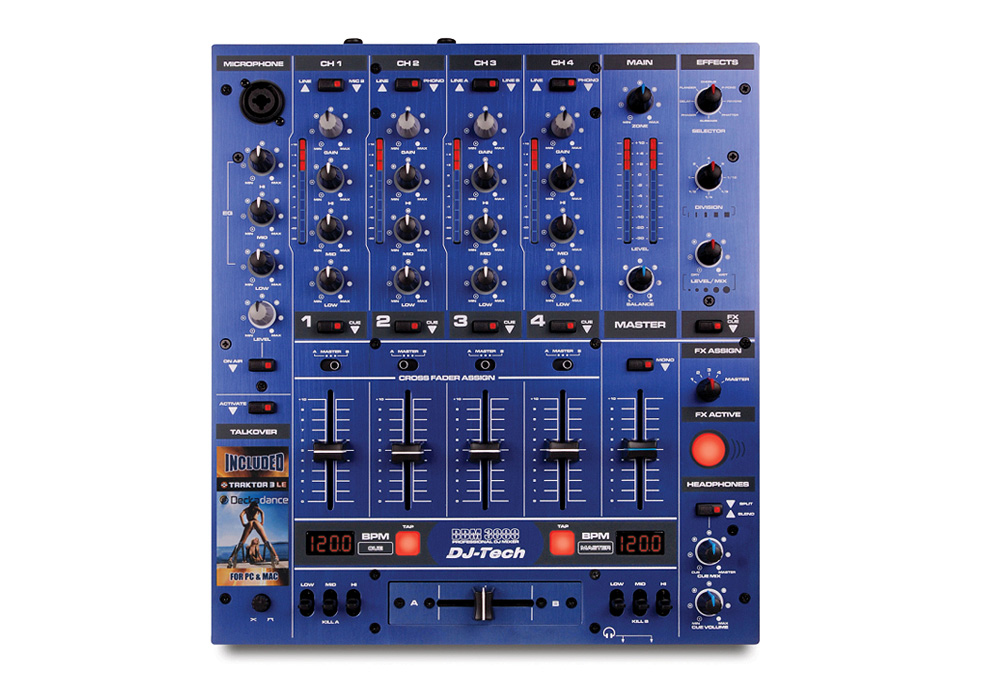 DJ Tech DDM 3000 Blue Edition Professional DJ Mixer with Effects and BPM Counter