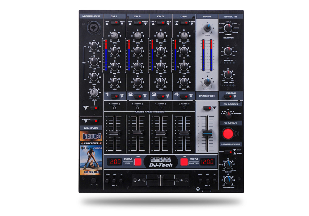 DJ Tech DDM 3000 Professional DJ Mixer with Effects and BPM Counter
