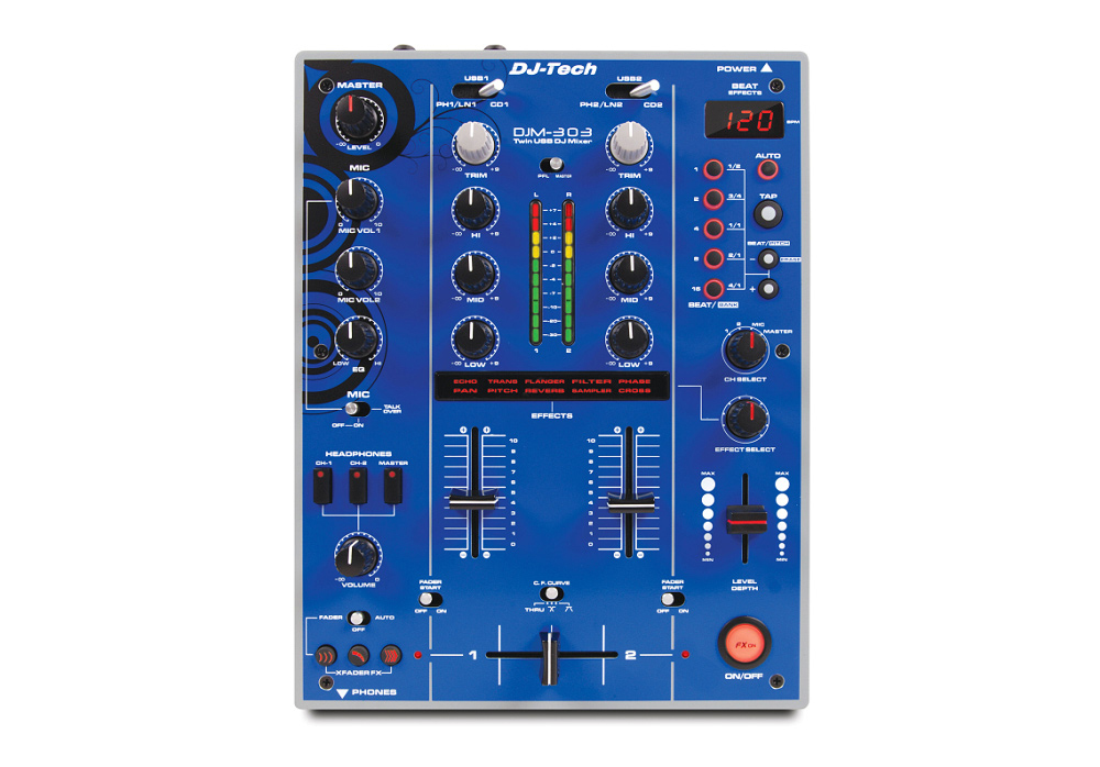 DJ Tech DJM 303 Blue Edition Twin USB - 2CH DJ Mixer with 9 Effects including in-LoopSampler