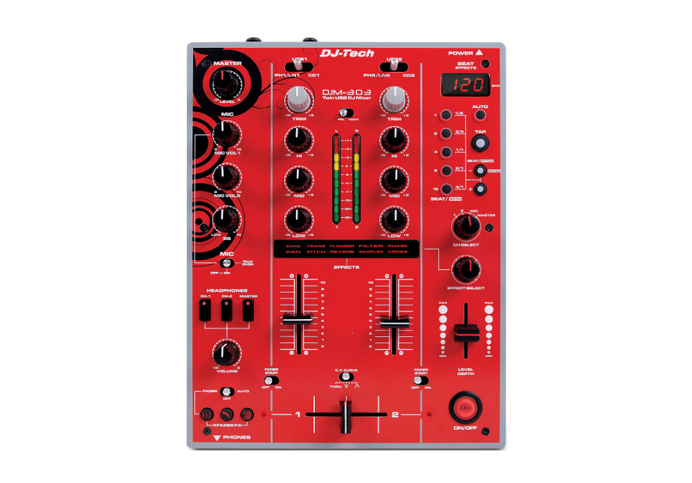 DJ Tech DJM 303 Red Edition Twin USB - 2CH DJ Mixer with 9 Effects including in-LoopSampler