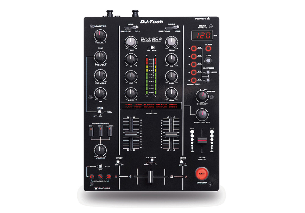 DJ Tech DJM 303 Twin USB - 2CH DJ Mixer with 9 Effects including in-LoopSampler