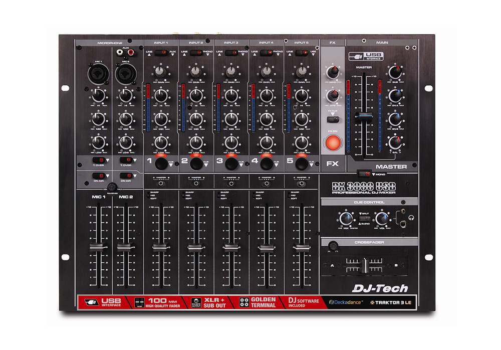 DJ Tech DX 3000 USB Professional 7-Channel Ultra-low Noise DJ Mixer