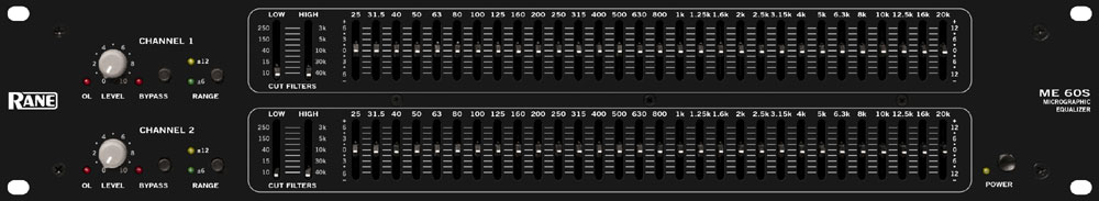 Rane Pro Audio ME 60S Rack-mount Micro Graphic Equalizer 2-Channel  1/3-Octave EQ (ME60S)