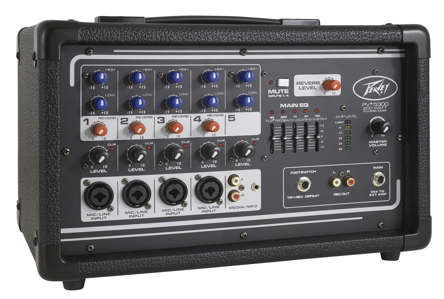 Peavey Pv5300 Pro Audio Dj 5 Channel Powered Amp Mixer