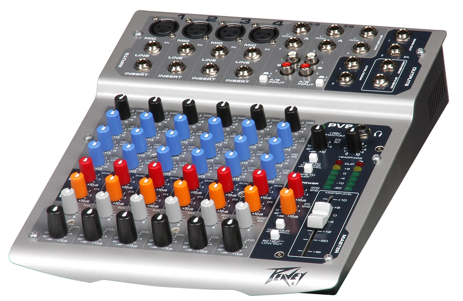 peavey pv 8 compact mixer w dual switchable stereo line inputs eq pev13 512040 rs. Black Bedroom Furniture Sets. Home Design Ideas