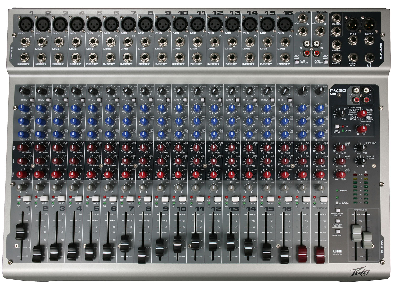 peavey pv 20 usb mixer with built in dsp effects multiple reverbs 513020 pev13 513020. Black Bedroom Furniture Sets. Home Design Ideas