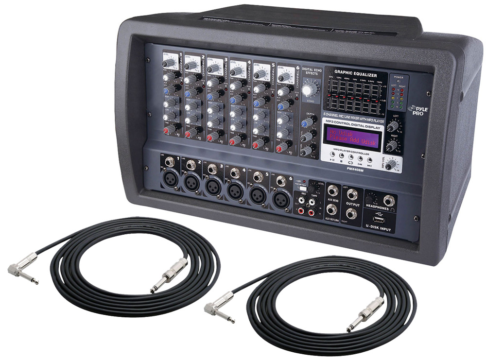 Pyle Pro Audio Dj Pmx408m Powered 600 Watt 6 Channel Mixer