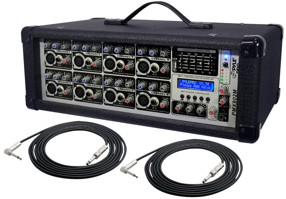 pyle pro audio dj pmx802m powered 800 watt 8 channel mp3 mixer with rh hifisoundconnection com Simple Tube Amp Schematic Biasing a Tube Amp