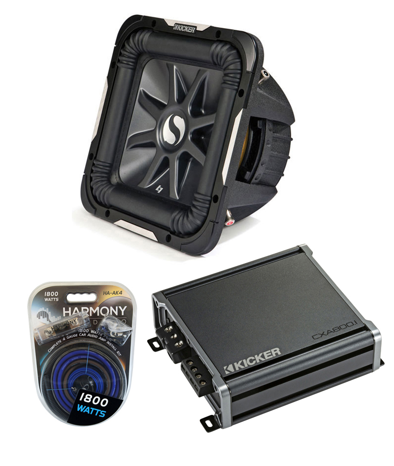 "Kicker Car Stereo 15"" Sub Package 2011 S15L7 Dual 4 Ohm Subwoofer, CX600.1 Amp & Install Wire Kit"