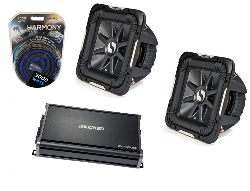 """Kicker Car Audio 10"""" Sub Package S10L7 Dual 2 Ohm Subwoofer Pair, CX1200.1 Amp & Install Wire Kit"""