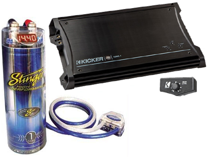 Kicker Car Amplifier Package Includes ZX1000 1 Amp & Stinger 1 Farad Cap  with Install Kit