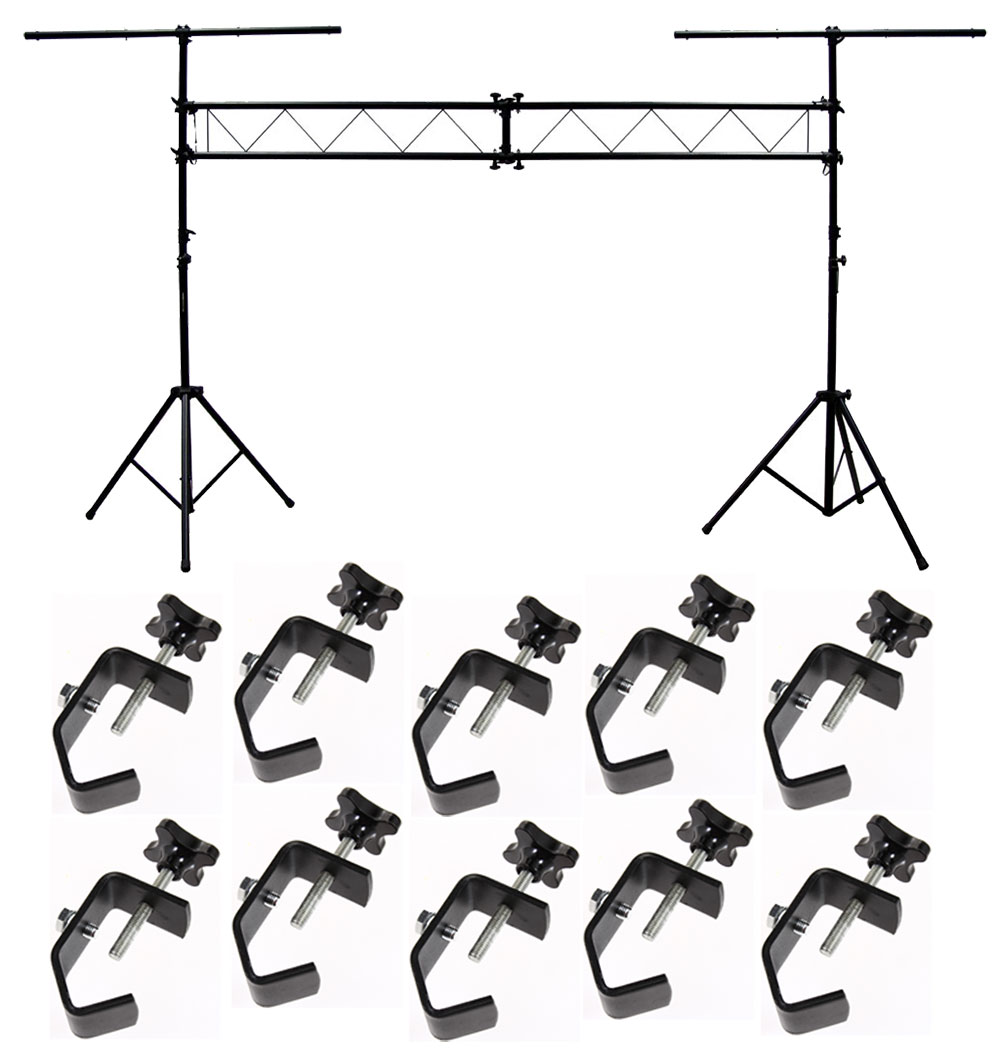 DJ Pro Audio Light Trussing 10 Foot Portable Truss Lighting System C Clamps
