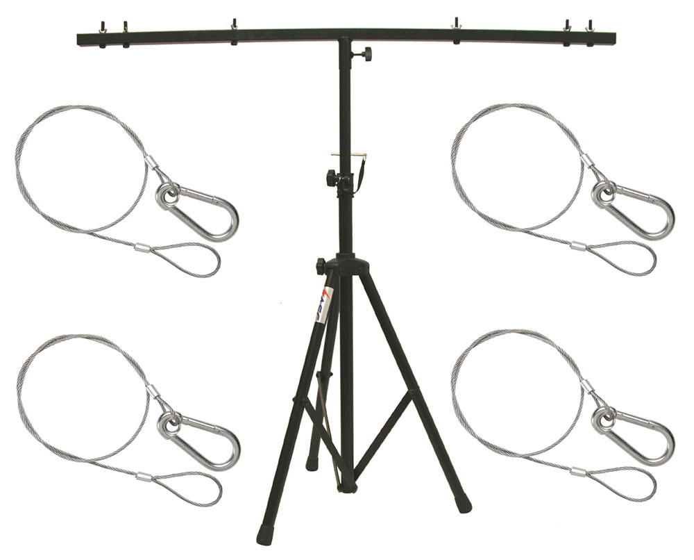 DJ Pro Audio Lighting Fixture Tripod Stand & T-Bar Light Truss (4) Safety Cables