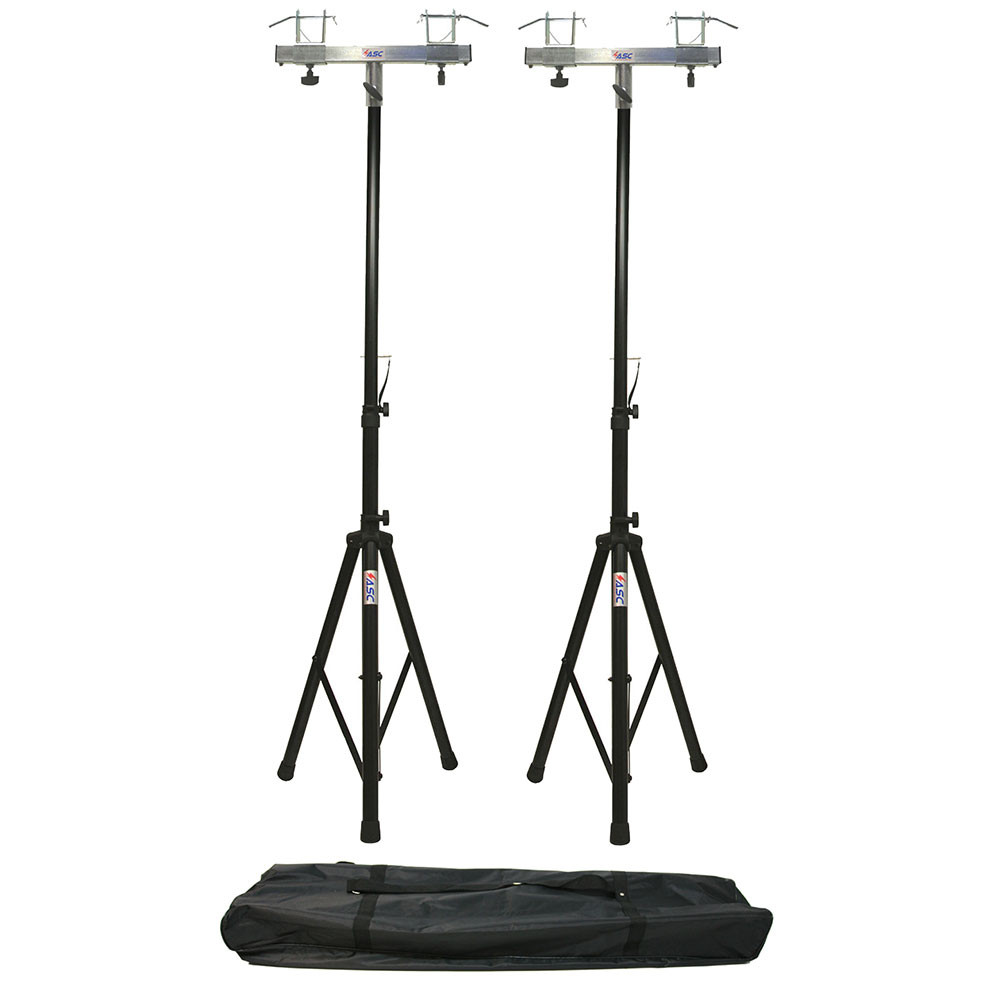 (2) DJ Pro Lighting 6 Foot Tripod Light Stand & (2) Square Truss T-Bar Adapter