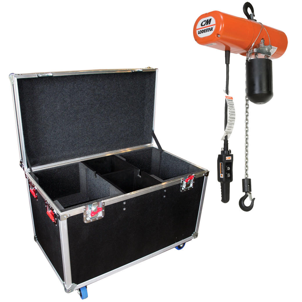 Gator Cases G-TOUR CHAINHOIST-2X1T G-TOUR style case with 1/2 inch construction, designed to hold (2) one ton CW style chain hoist.