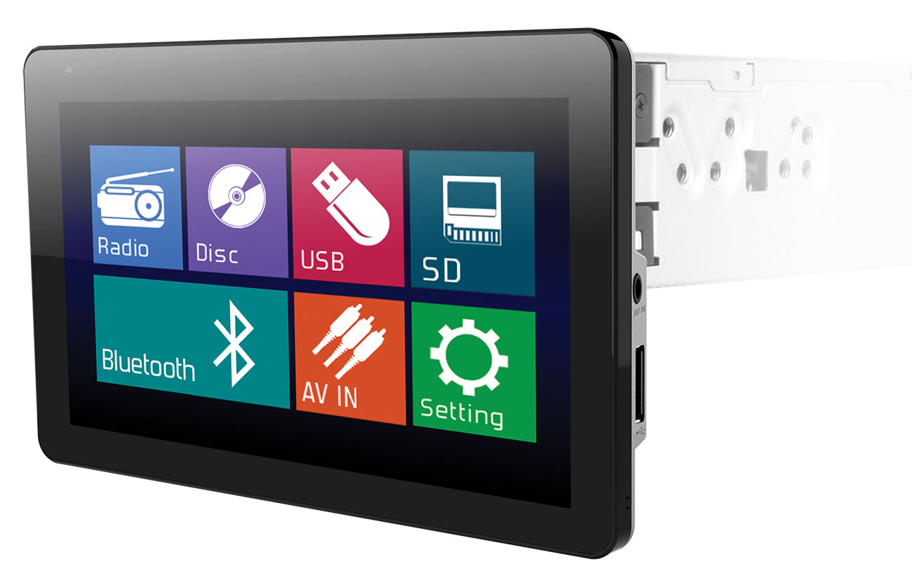 "Farenheit TI-930B 1-DIN Multimedia Source Unit with Detachable 9.3"" Touch Screen"