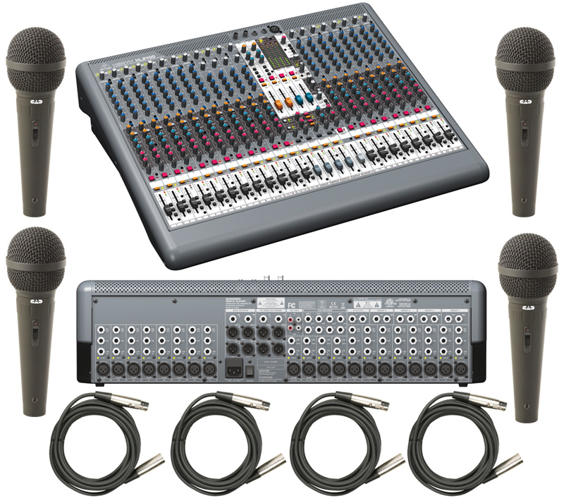 behringer xl2400 pro audio recording studio or church 24 channel mixer with 300 cad microphones. Black Bedroom Furniture Sets. Home Design Ideas