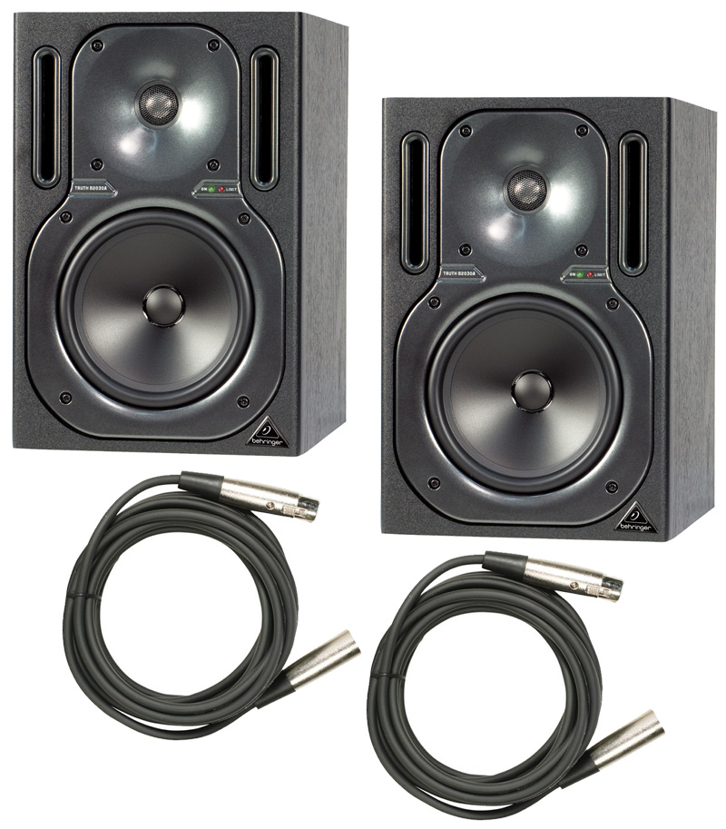 2 behringer b2030a pro audio powered 125 watt studio monitor speaker pair with 50 xlr cables. Black Bedroom Furniture Sets. Home Design Ideas