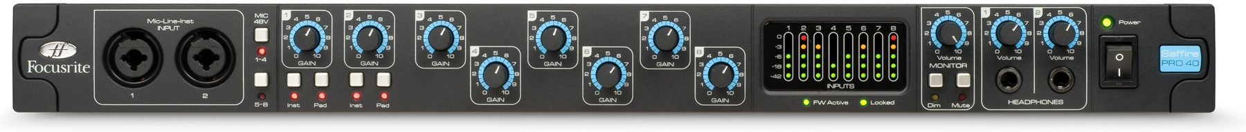 Focusrite SAFFIRE PRO 40 Professional 20 In/20 Out Firewire Interface w/ 8 Microphone Preamps