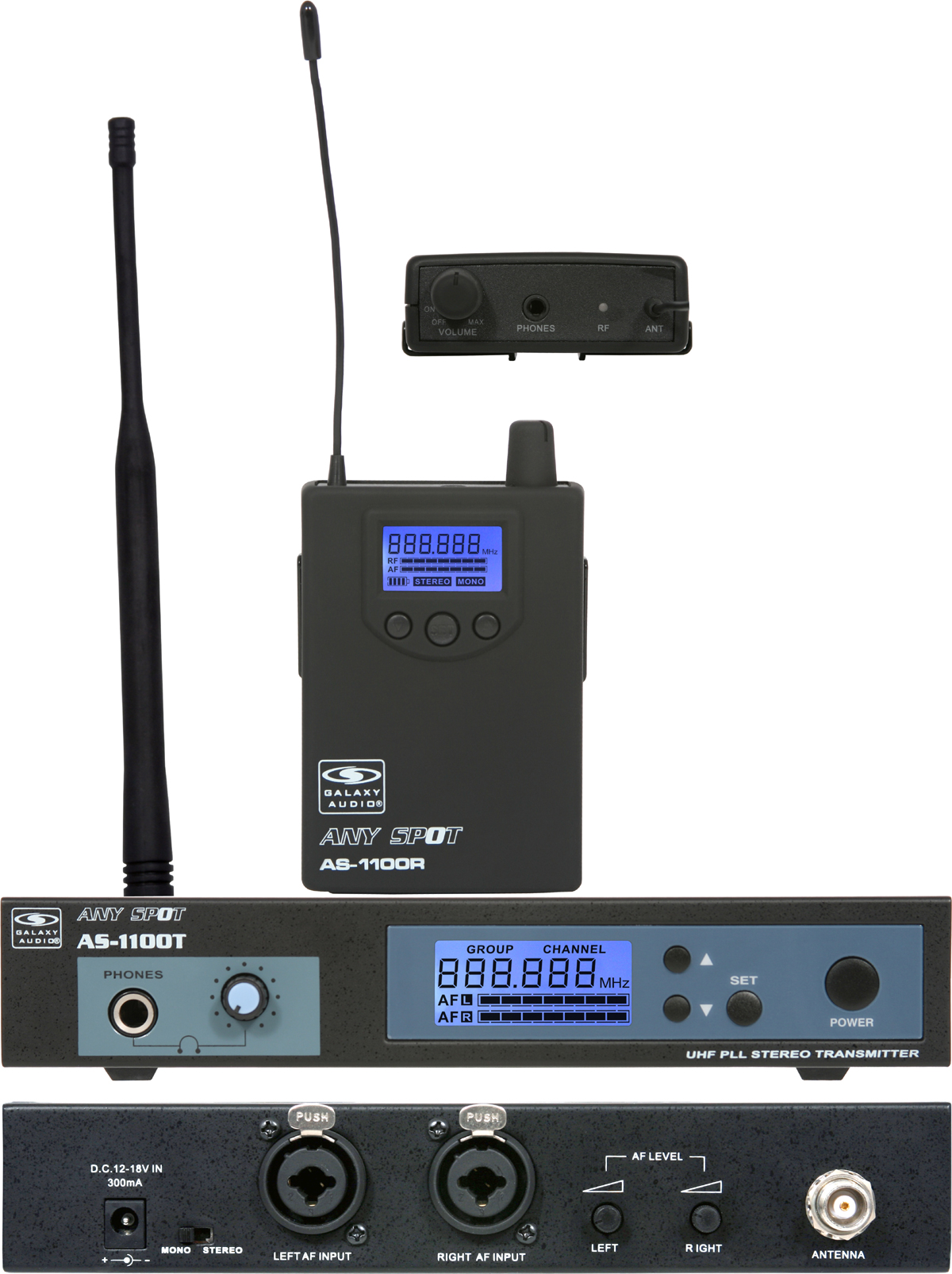 Galaxy Audio AS-1110 UHF Wireless AS-1100 with EB-10 Personal Monitor