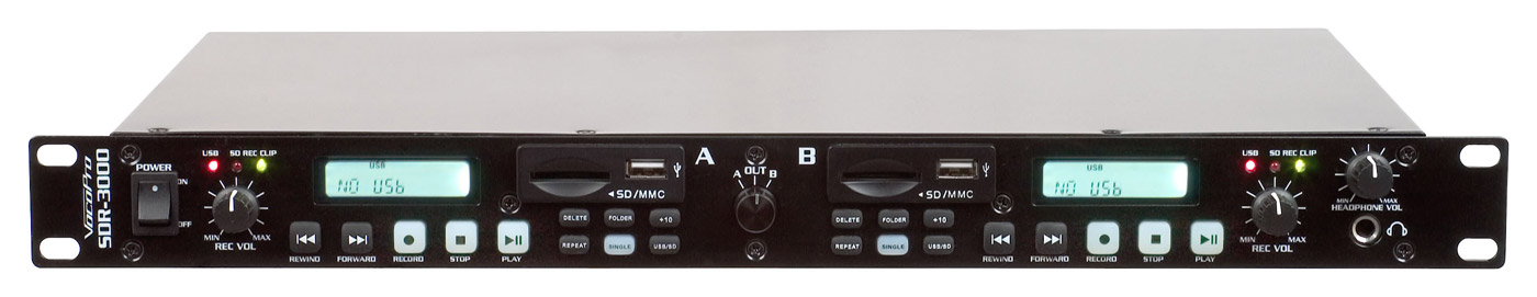 VocoPro SDR-3000 Dual Digital USB/SD Audio Recorder with High Fidelity Recording
