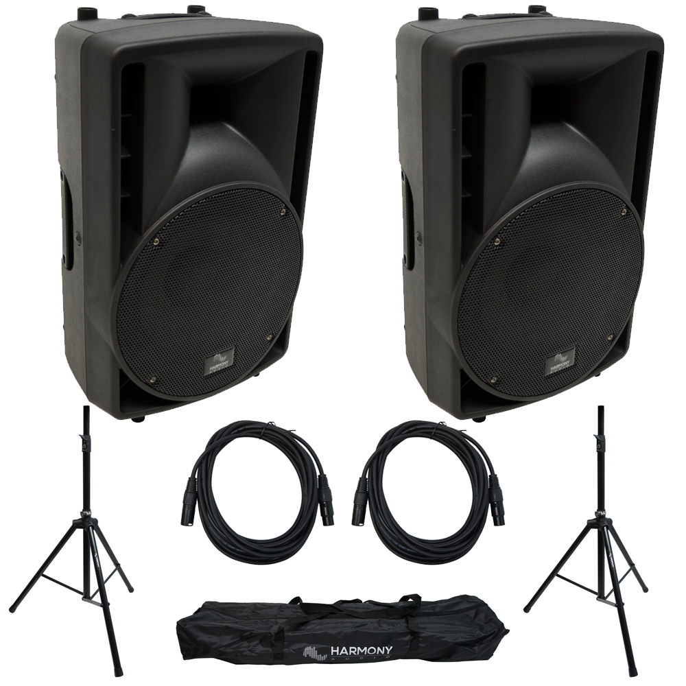 """Harmony Audio HA-C15A 15"""" Pro DJ Powered 1000W PA Speaker Pair with Tripod Speaker Stands & 15 Foot XLR Cables"""