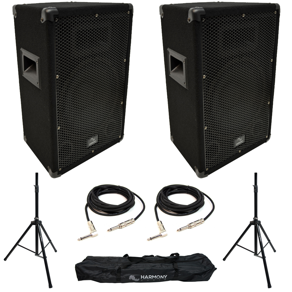 """Harmony Audio HA-V12P 12"""" Pro DJ Passive 450W PA Speaker Pair with Tripod Speaker Stands & 15 Foot 1/4"""" Audio Cables"""
