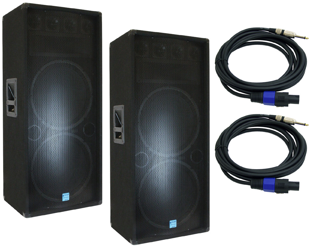"Gemini Pro Audio DJ (2) GSM-3250 Passive Dual 15"" 2400 Watt PA Speakers with $70 Speakon Cables"